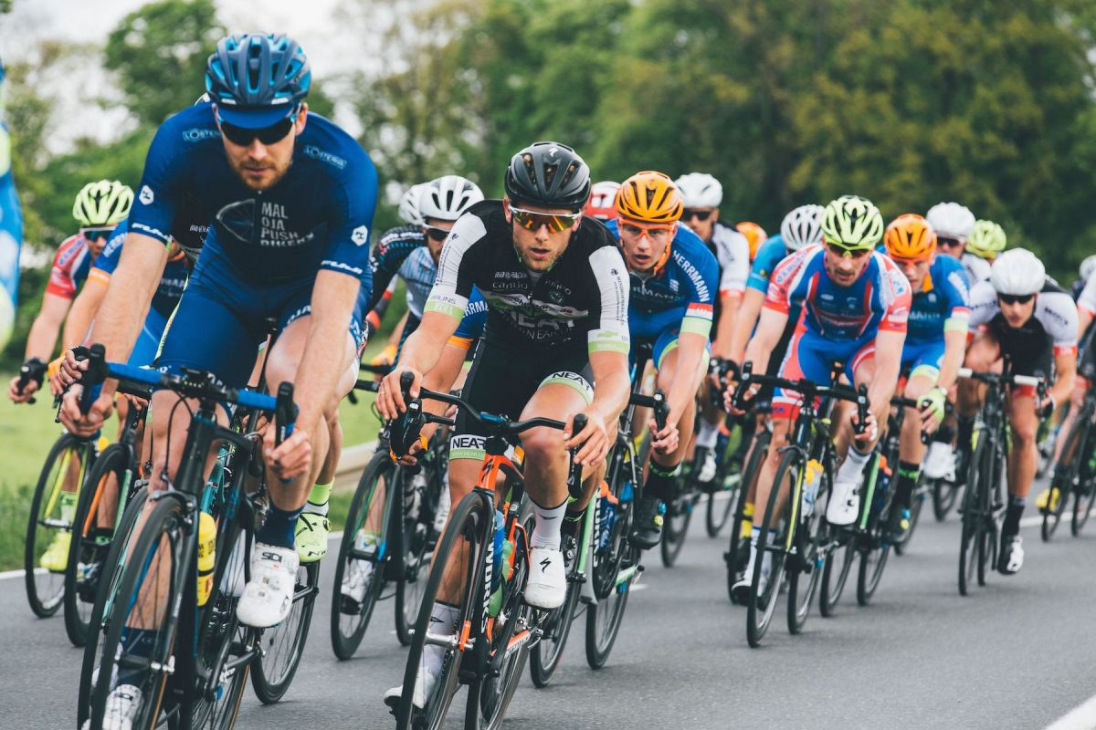 A group of cyclists in a race.